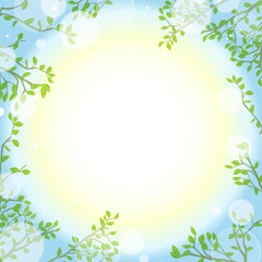 緑の葉と光りのフレーム