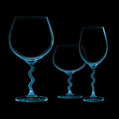 Three Stylish Cups Isolated on black background