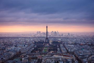 Aerial view of Paris at dusk