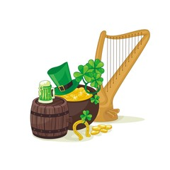 Harp and other St. Patrick's Day traditional elements
