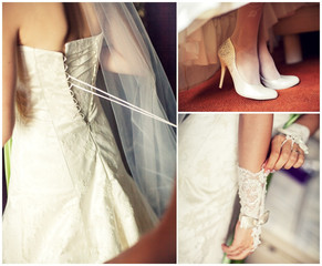 collage of wedding preparation
