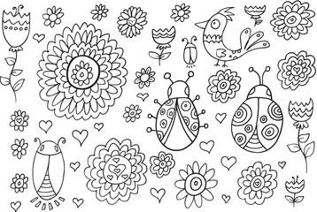 Summer Spring Doodle Flowers Vector Illustration Set