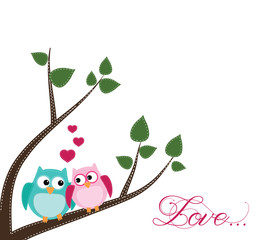 Two owls in love sitting on a branch