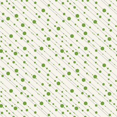 Diagonal dots and dashes seamless pattern in green