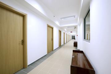 empty corridor modern office building