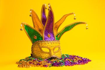 Wall Mural - Colorful Mardi Gras or venetian mask on yellow