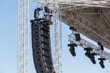 Concert lighting and sound equipment on stage