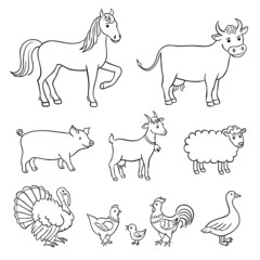 Farm animals in contours