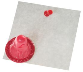 Kondom mit leerem Zettel
