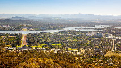 Aerial view over Canberra