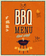 Wall Mural - Vintage BBQ poster.
