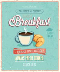 Wall Mural - Vintage Breakfast Poster.