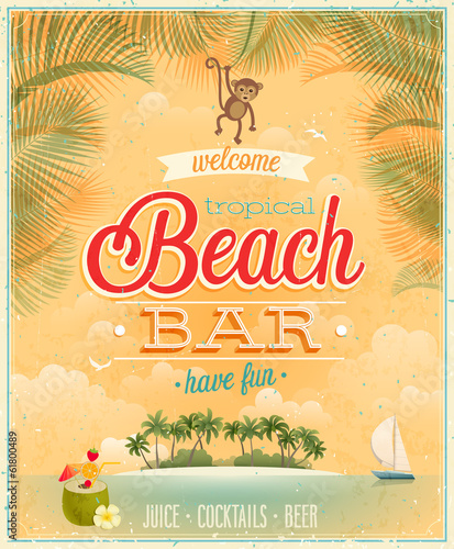 Wall mural Vintage Beach Bar poster.