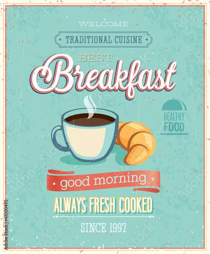 Wall mural Vintage Breakfast Poster.