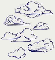 Clouds collection. Doodle style