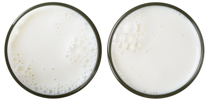 milk glass top view isolated on white