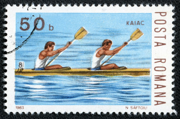 stamp printed by Romania, shows Kayak