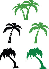 Silhouette Palm Tree. Set Collection