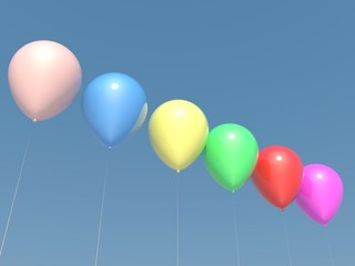 Collection of colorful balloons on clean sky