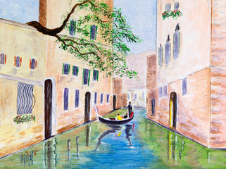 Painting of a Gondola