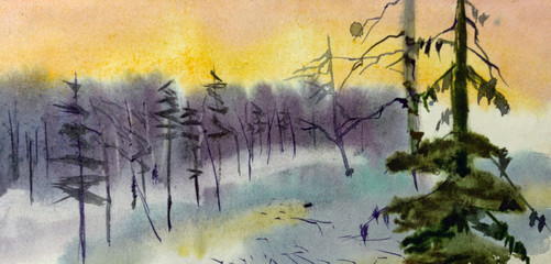 winter landscape watercolor