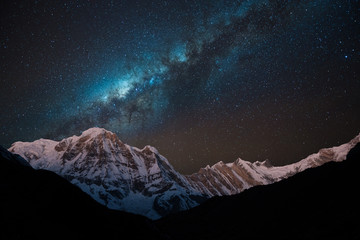 Wall Murals Nepal Night shot of Annapurna Range with Milky way.