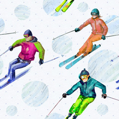 Skiers. Seamless texture watercolor