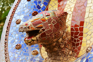 Sculpture with tile mosaic in the Park Guell  in Barcelona