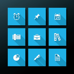Vector flat office icon set