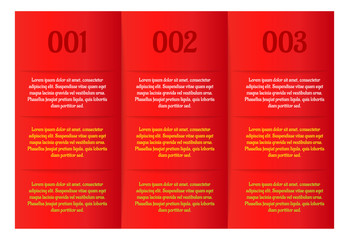 infographics - three red vertical panels