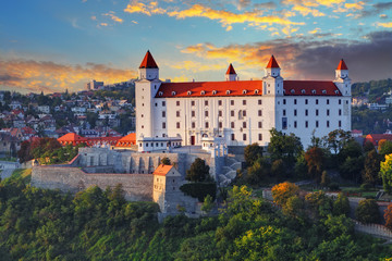 Printed kitchen splashbacks Castle Bratislava castle at sunset, Slovakia