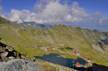 Balea lake-alpine lake resort - top view