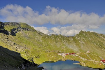 Mountain landscape from Balea Lake in the summer