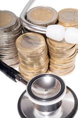 Stethoskop mit Euromünzen