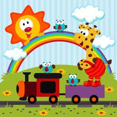Giraffe travels by train  - vector illustration