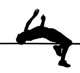 Side Profile of Boy High Jumper Leaping Over Bar