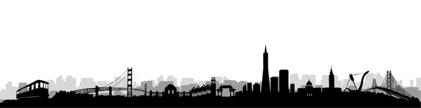 San Francisco Skyline Silhouette vector