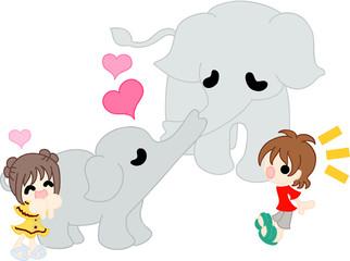 象の親子がキスをする、微笑ましい場面。