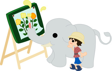 花の絵を描く象と、見守る象使い。