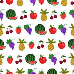 Seamless pattern of fruit, background with style pixel-art