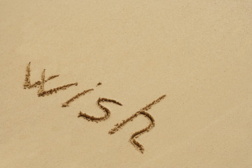 Conceptual text sand on beach