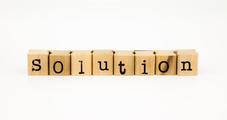 solution wording isolate on white background