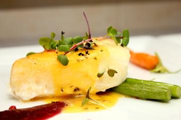Snow Fish Steak with Orange Sauce