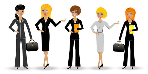 set  slender business woman on white background