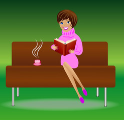 young woman with book and cup of tea sit on sofa