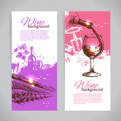 Banners of wine vintage background. Hand drawn sketch