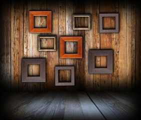 wooden interior background with frames