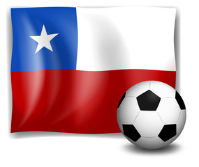 The flag of Chile with a soccer ball