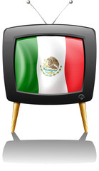 The flag of Mexico inside the TV screen