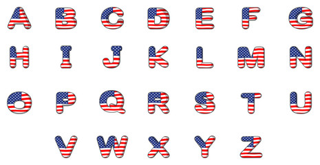 Letters of the alphabet with the American flag
